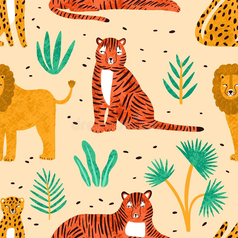 Modelo inconsútil de moda con los leones, los tigres, los leopardos y las hojas exhaustos de la mano de plantas tropicales en fon ilustración del vector