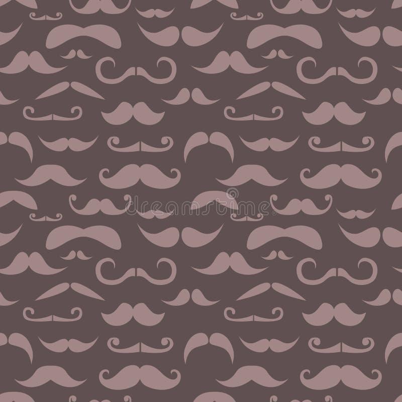 Modelo inconsútil de moda del bigote retro del inconformista stock de ilustración