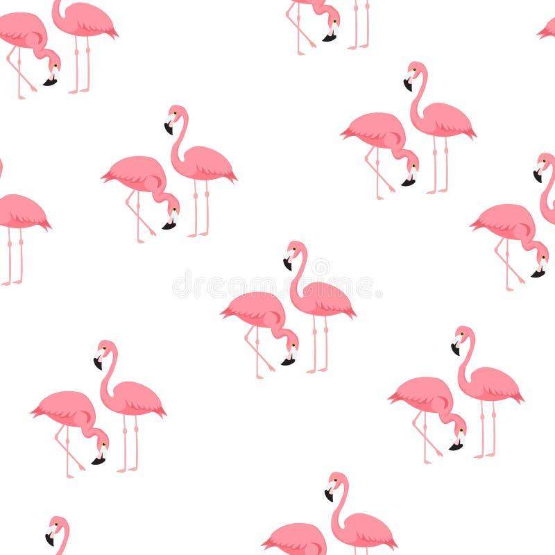 Modelo inconsútil de moda tropical con los flamencos y el estampado de zebra Fondo exótico del arte de Hawaii Diseño para la tela stock de ilustración