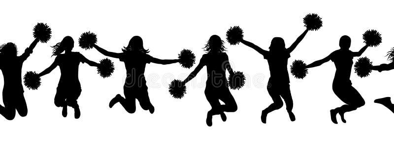 Modelo inconsútil de muchachas de salto con las siluetas de las animadoras del pom-pom Ilustración del vector libre illustration