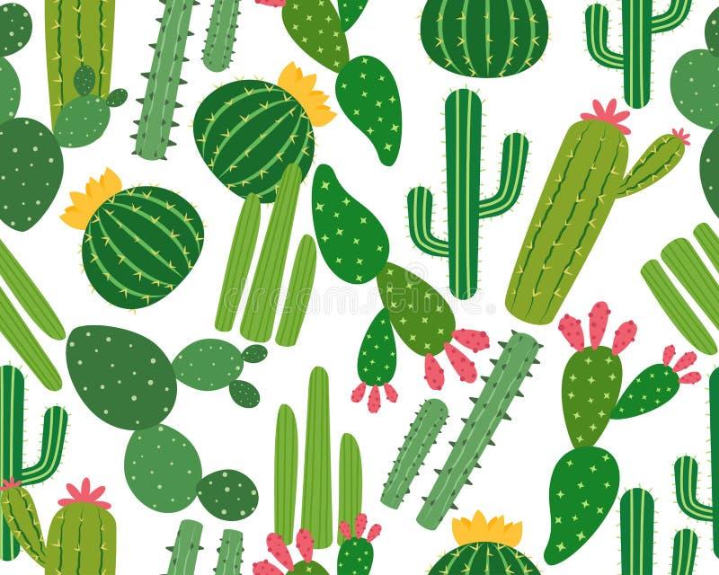 Modelo inconsútil de muchos cactus aislado en el fondo blanco stock de ilustración