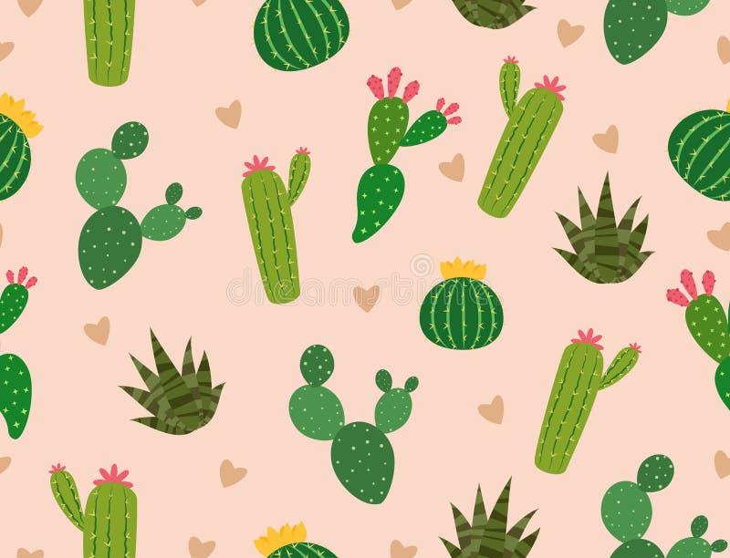 Modelo inconsútil de muchos cactus con el mini corazón en fondo stock de ilustración