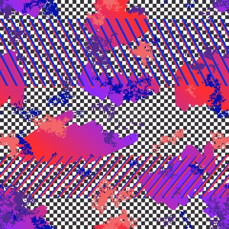 Modelo inconsútil de neón del extracto Textura urbana colorida del vector del estilo del deporte libre illustration