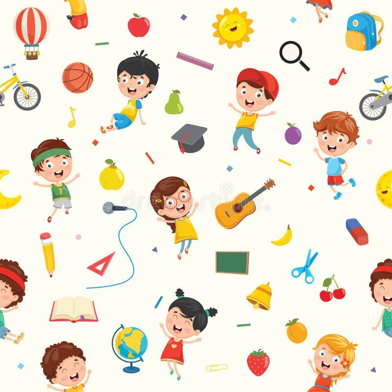 Modelo inconsútil de niños y de objetos stock de ilustración