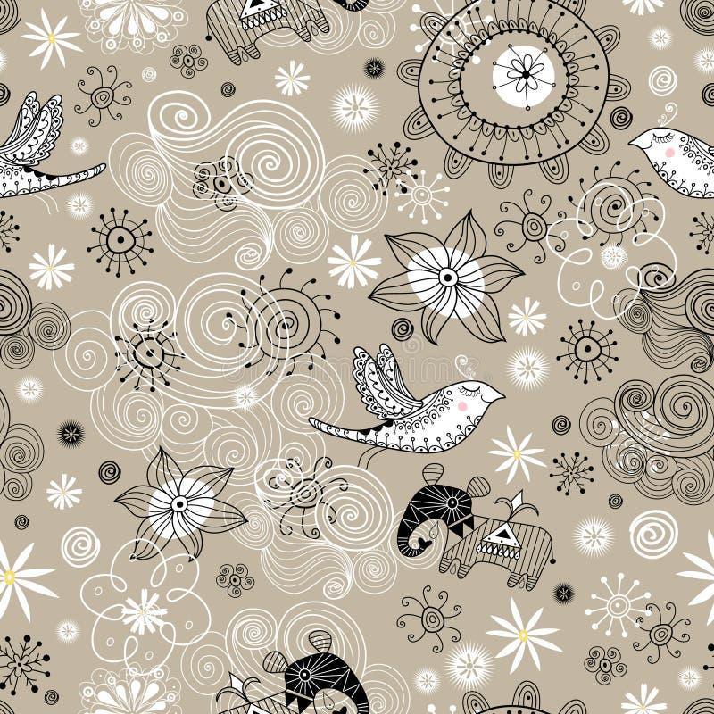 Modelo inconsútil de nubes, de pájaros y de elefantes ilustración del vector