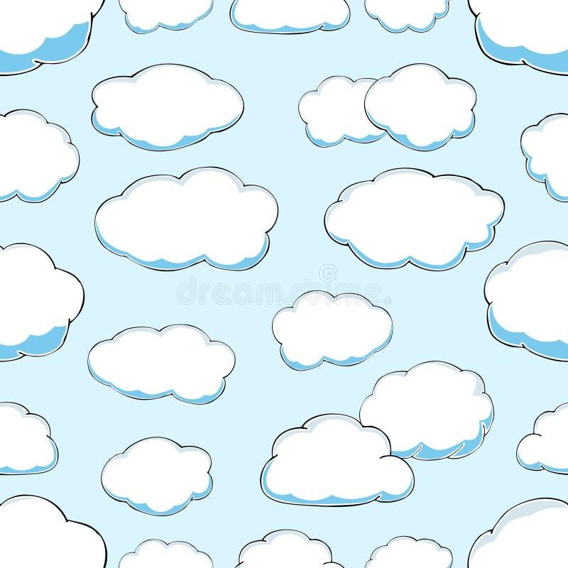 Modelo inconsútil de nubes en el cielo azul stock de ilustración