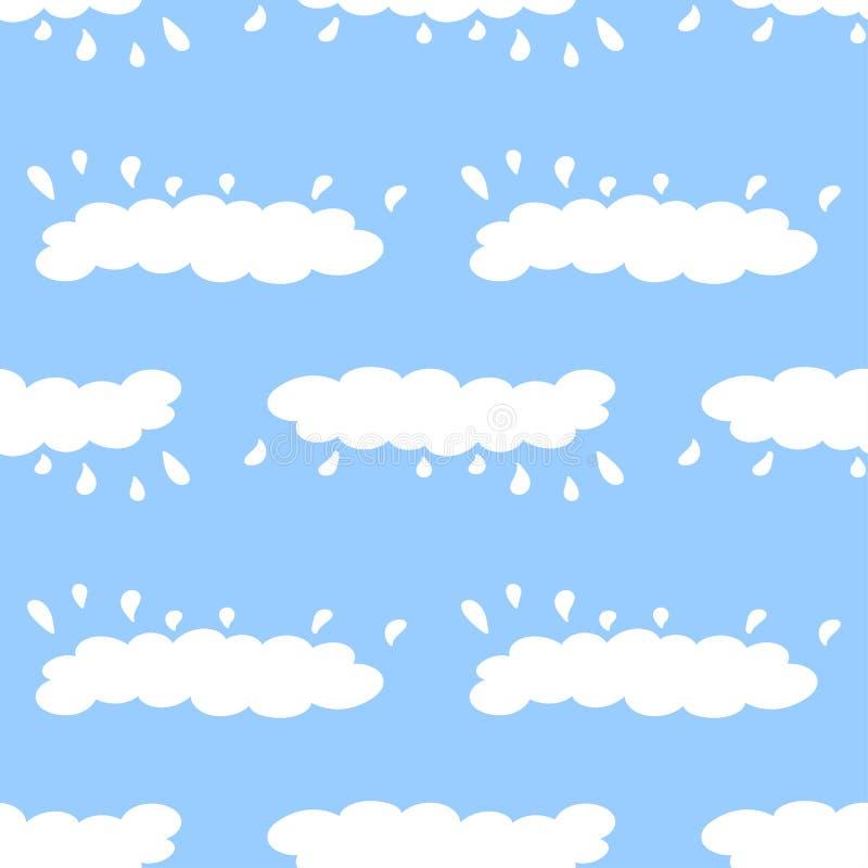 Modelo inconsútil de nubes en estilo de la historieta con gotas de lluvia stock de ilustración