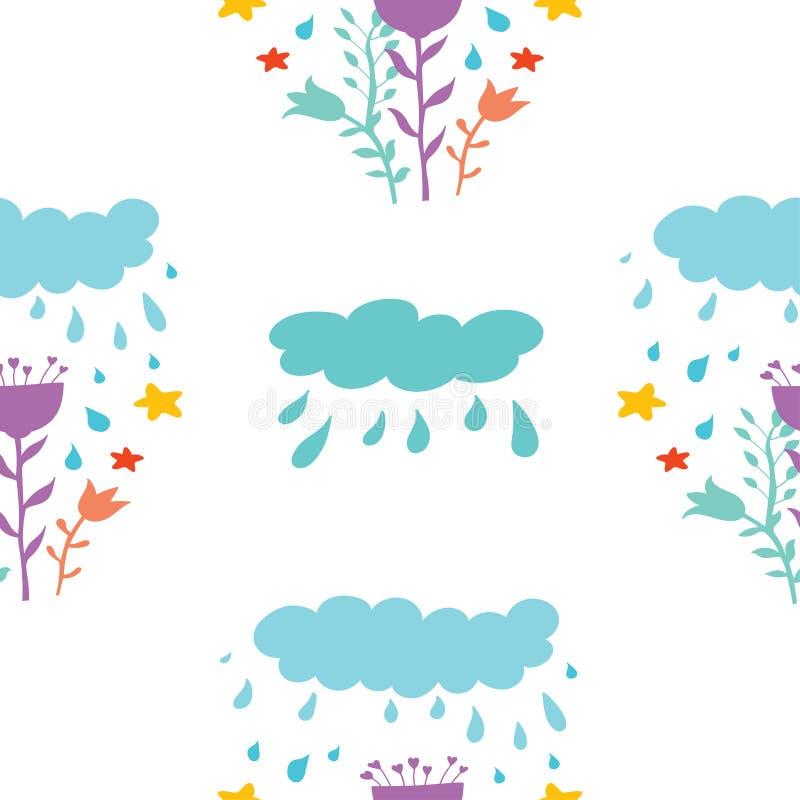 Modelo inconsútil de nubes en estilo de la historieta con gotas y flores de lluvia Fondo decorativo para la materia textil, ropa, ilustración del vector