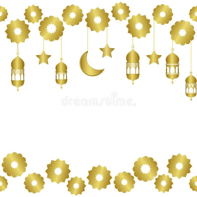 Modelo inconsútil de oro árabe con la media luna y las estrellas ilustración del vector