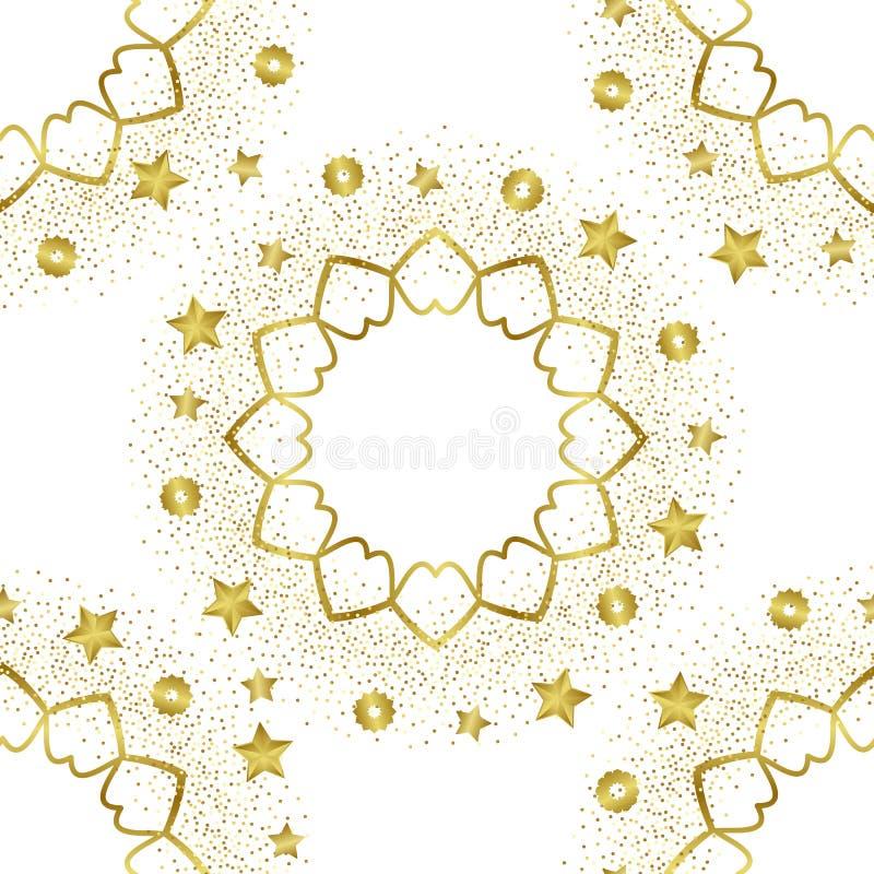Modelo inconsútil de oro árabe en el fondo blanco libre illustration
