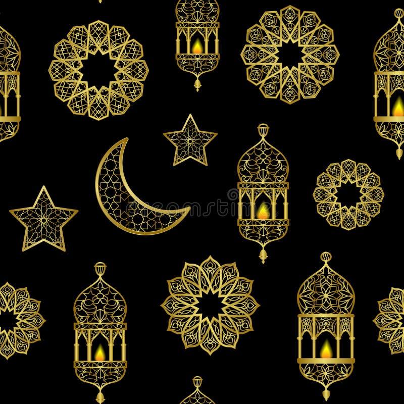 Modelo inconsútil de oro árabe de la linterna, de la luna y de las estrellas ilustración del vector