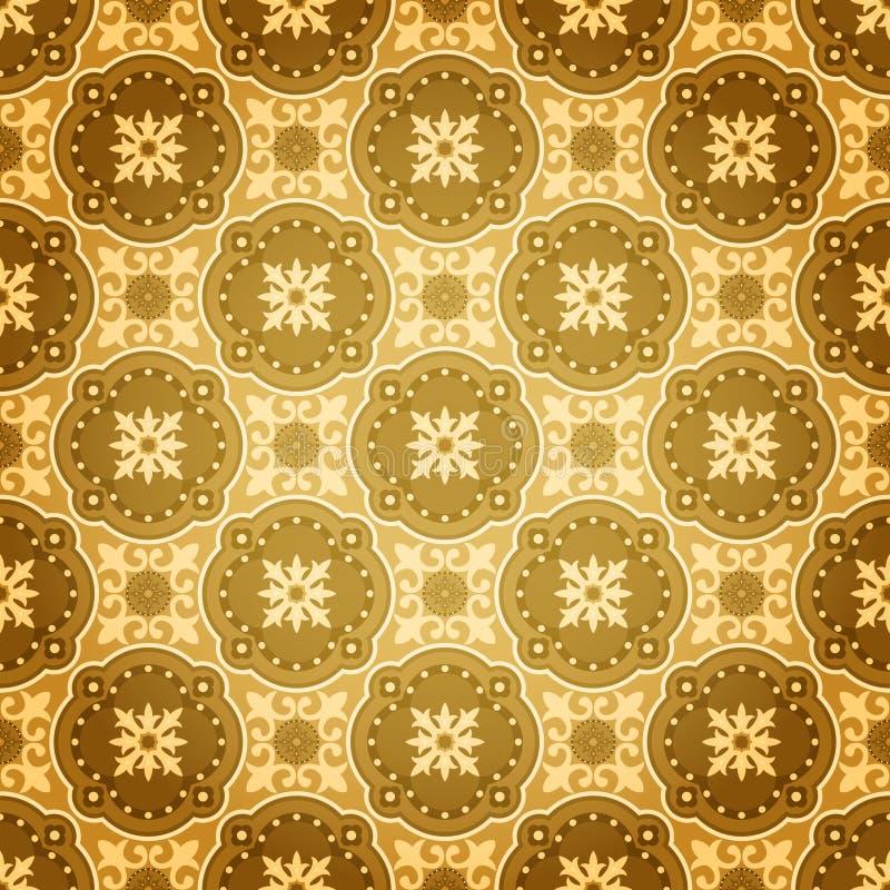 Modelo inconsútil de oro de la pared ilustración del vector