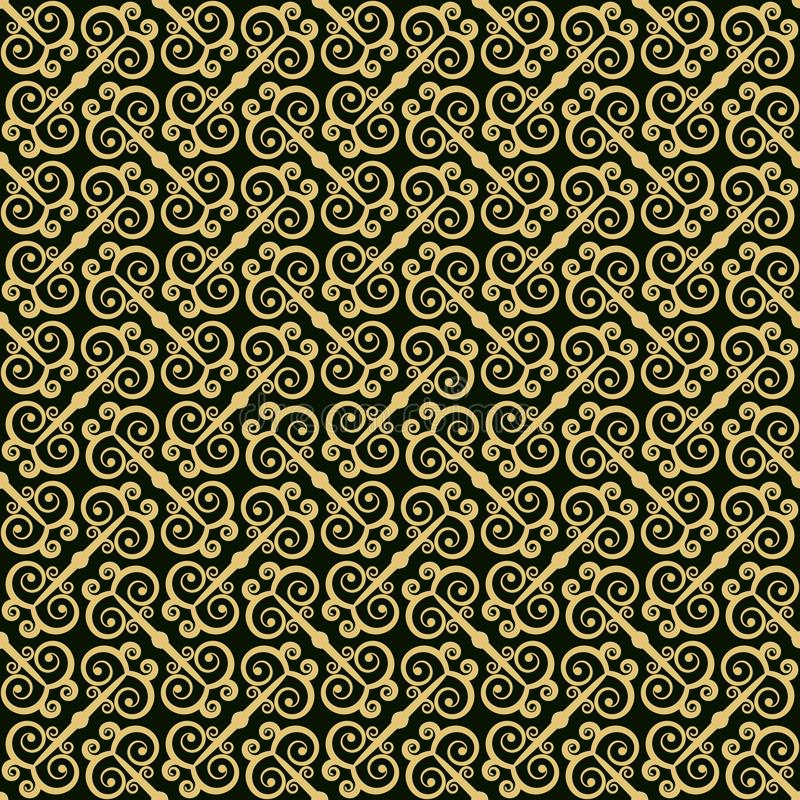 Modelo inconsútil de oro en estilo oriental stock de ilustración