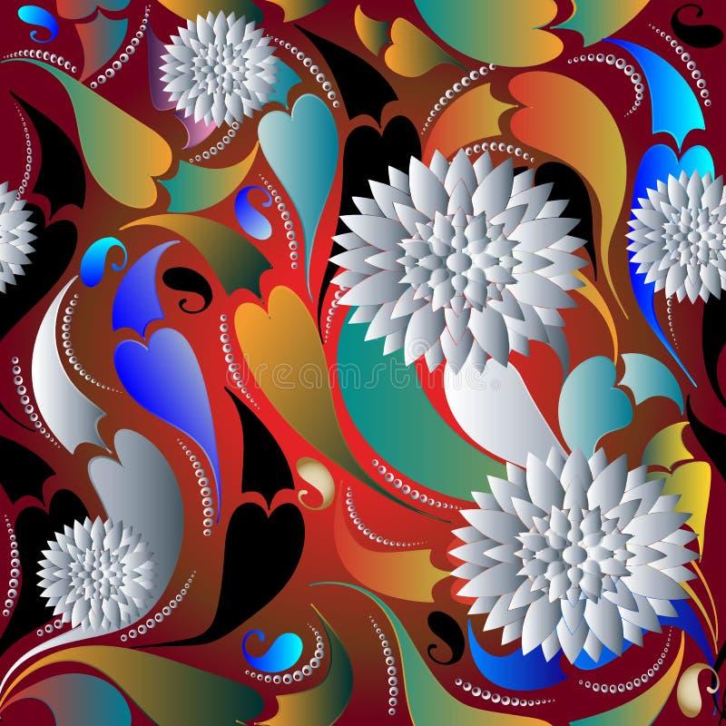 modelo inconsútil de Paisley de las flores blancas 3d Backg colorido floral ilustración del vector