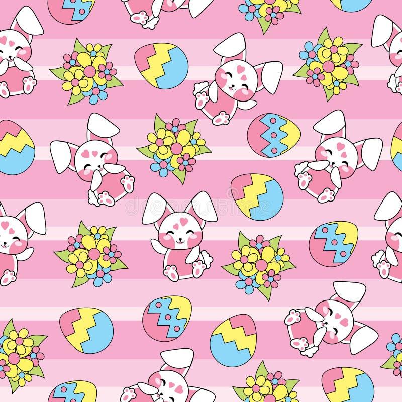 Modelo inconsútil de Pascua con el conejo lindo y el huevo colorido en el fondo rayado para el papel pintado del niño y el papel  libre illustration