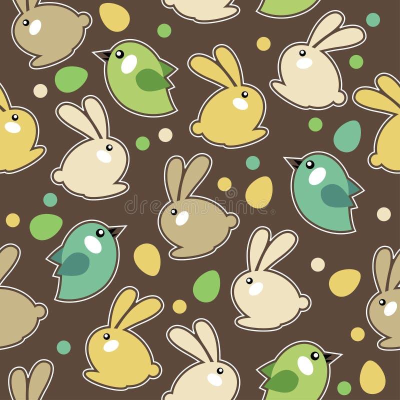 Modelo inconsútil de pascua con los conejos stock de ilustración