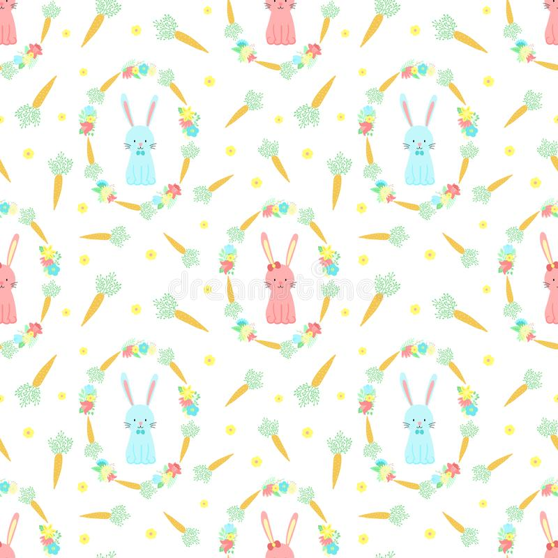 Modelo inconsútil de Pascua con los conejos, las zanahorias y las flores en un fondo transparente Ejemplo a mano del vector del c stock de ilustración