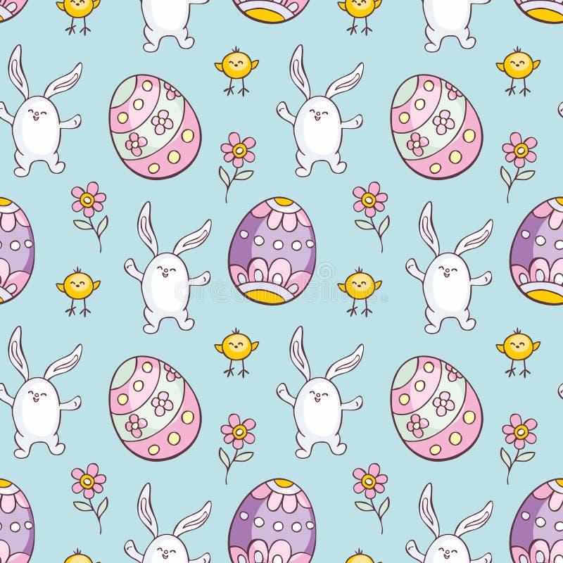 Modelo inconsútil de Pascua con los conejos lindos ilustración del vector