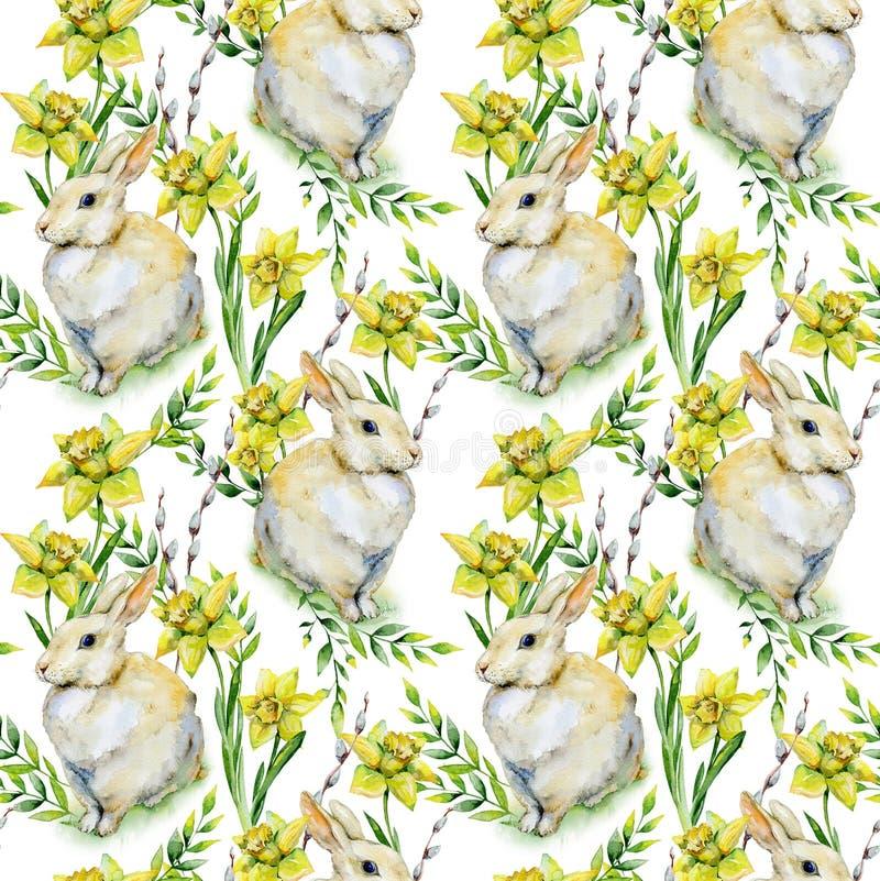 Modelo inconsútil de Pascua de la acuarela con el conejo, gatito-sauce ilustración del vector