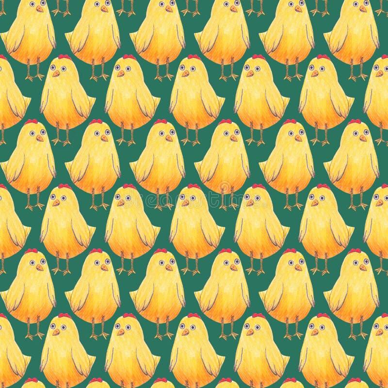 Modelo inconsútil de Pascua del fondo con los pequeños pollos amarillos lindos en un azulverde Materias textiles, papel de envolt ilustración del vector