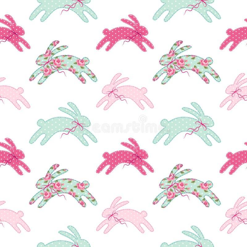 Modelo inconsútil de Pascua del vintage lindo con los conejitos como applique retro del remiendo de la tela en estilo elegante la ilustración del vector