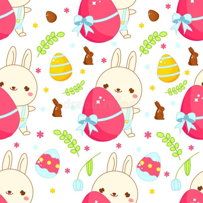 Modelo inconsútil de Pascua Fondo con el conejo y los huevos de pascua en estilo del kawaii de la historieta ilustración del vector