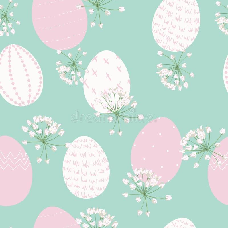 Modelo inconsútil de Pascua para el papel de embalaje, ejemplo con los huevos coloreados y flores de la primavera ilustración del vector