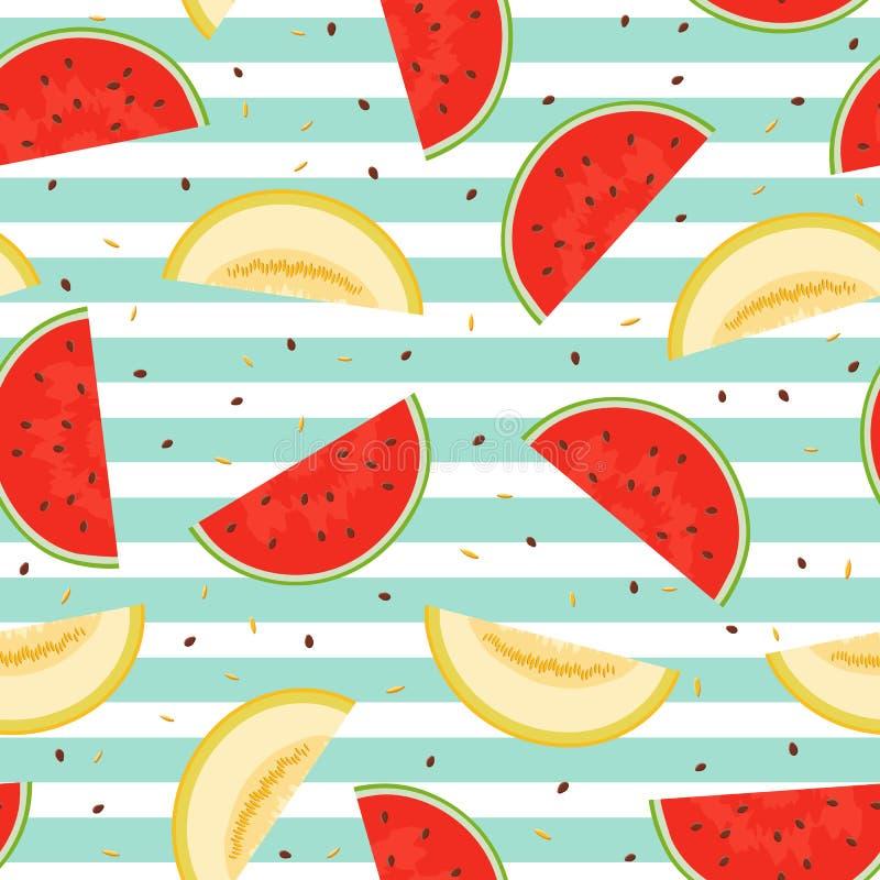 Modelo inconsútil de pedazos de melón y de sandía ilustración del vector