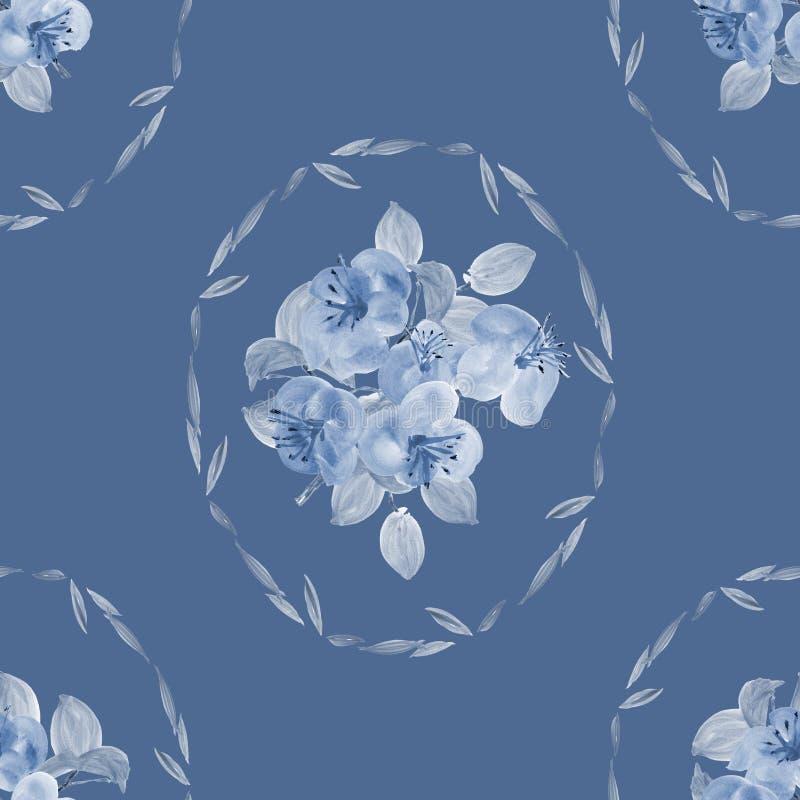 Modelo Inconsútil De Pequeñas Flores Y Hojas Azules En Marco En Un ...