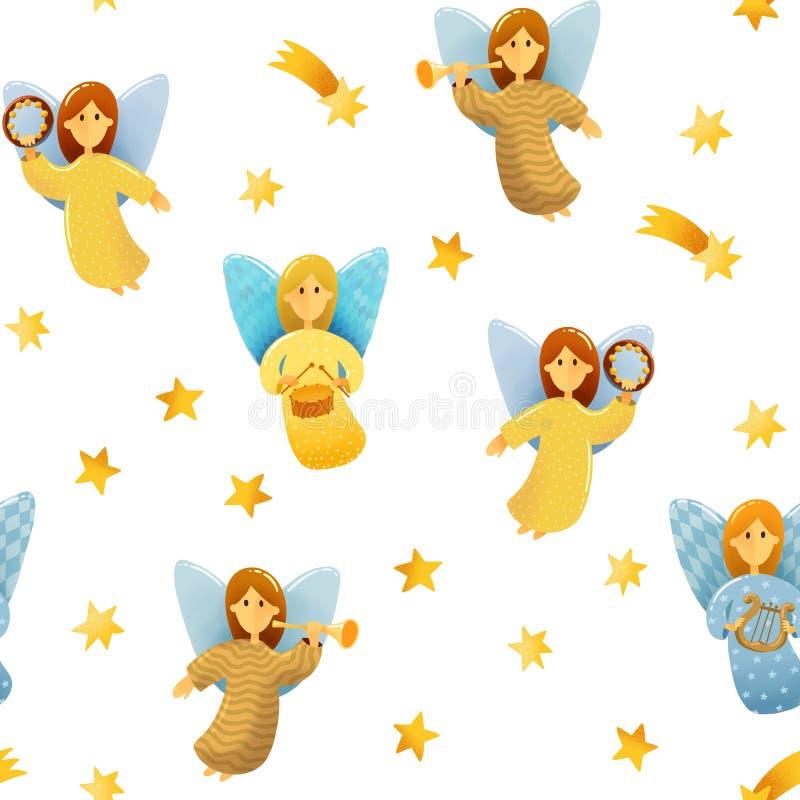 Modelo inconsútil de pequeños ángeles con las alas ilustración del vector