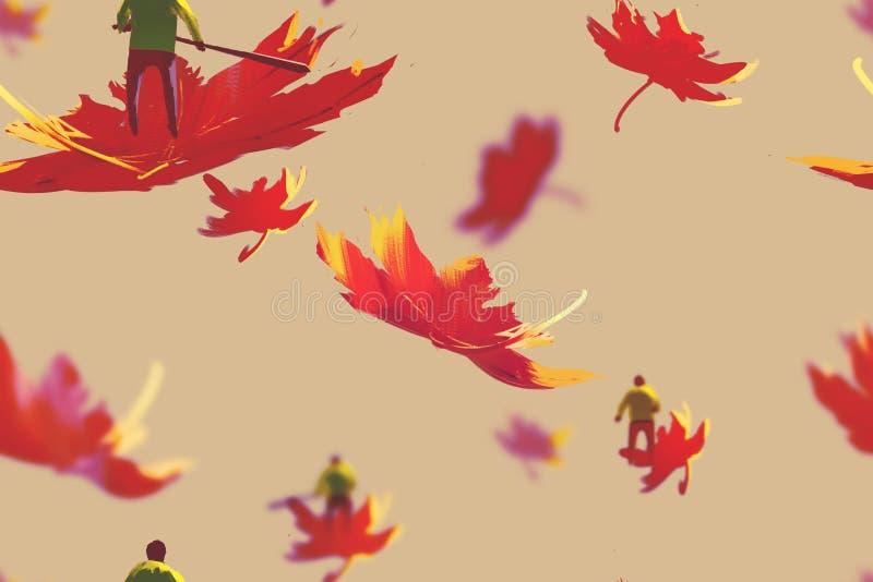 Modelo inconsútil de pequeños hombres en las hojas de arce, cocept del otoño stock de ilustración