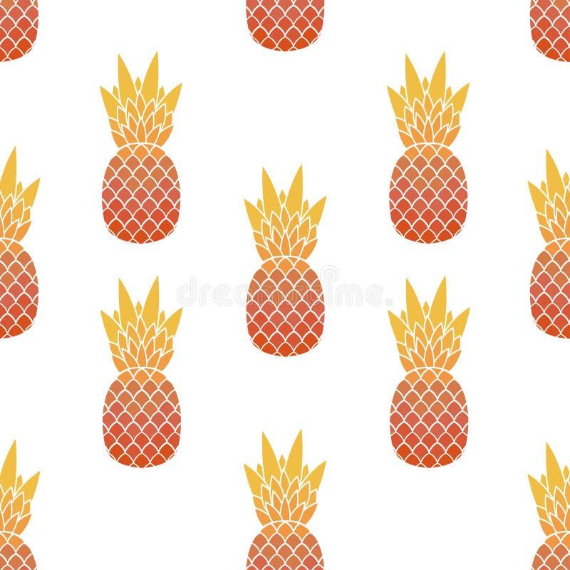 Modelo inconsútil de piñas con la hoja Frutas tropicales, exóticas ilustración del vector