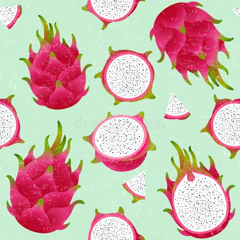 Modelo inconsútil de Pitaya Fruta madura roja del dragón Fruta entera y del corte en fondo lamentable ilustración del vector