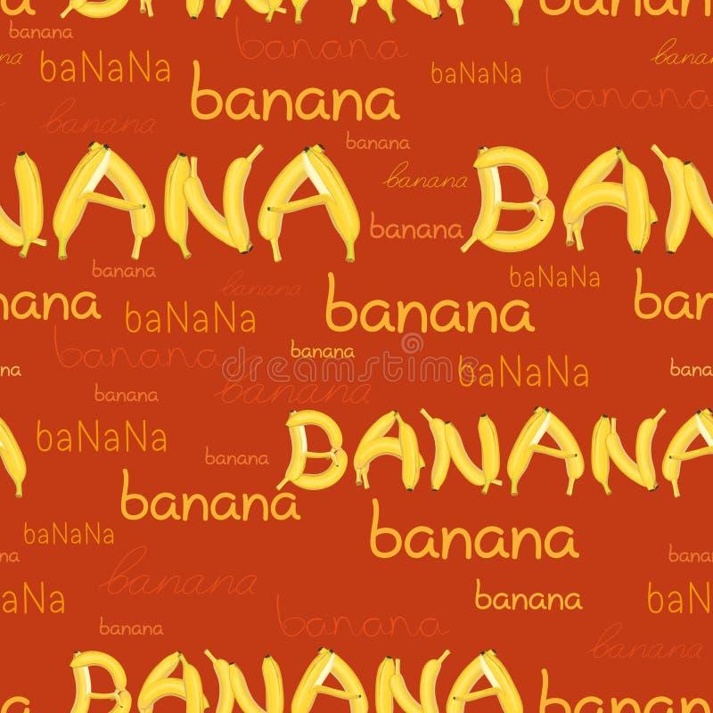 Modelo inconsútil de plátanos y de letras ilustración del vector