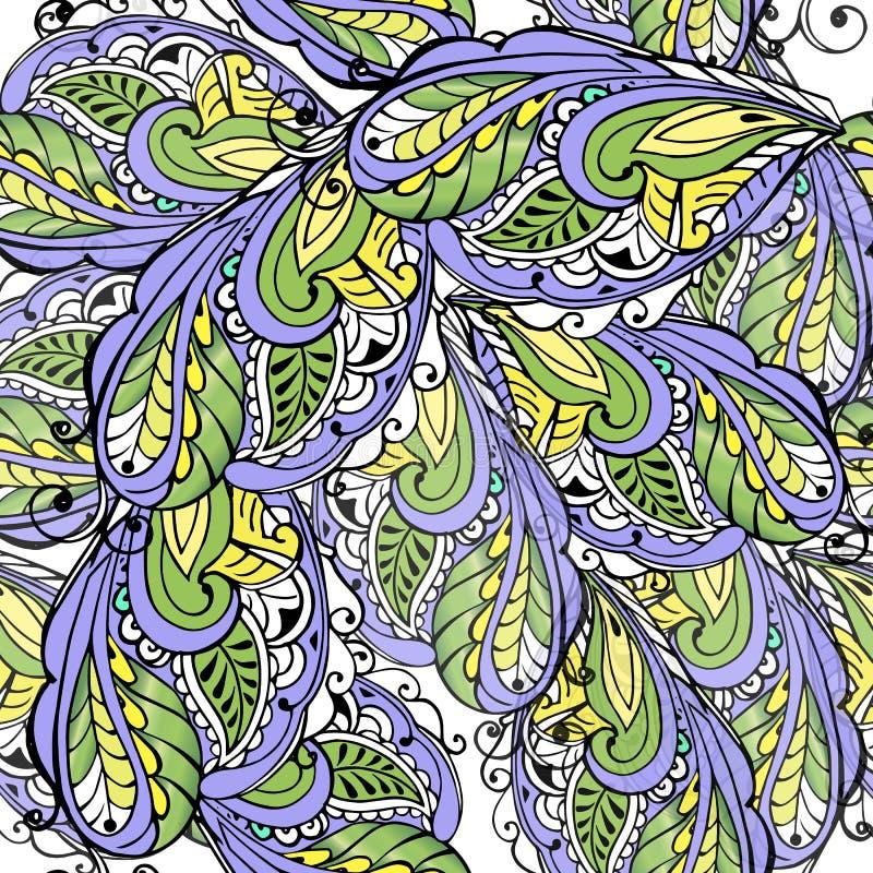 Modelo inconsútil de plumas estilizadas Ornamento inconsútil del vintage violeta y amarillo Contexto decorativo del ornamento par stock de ilustración