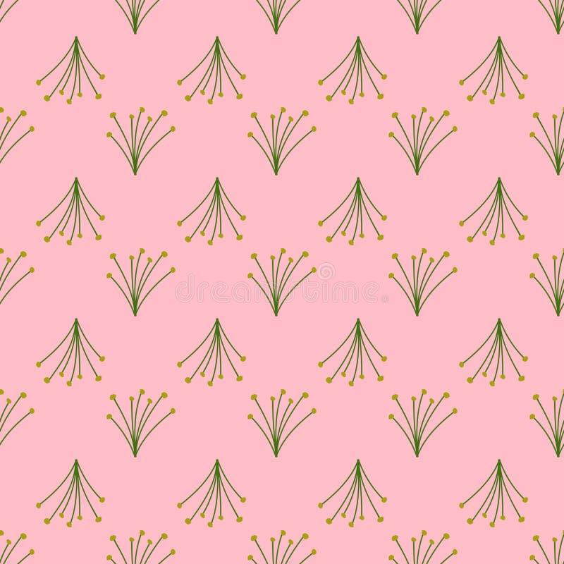 Modelo incons?til de ramos salvajes en un fondo rosado libre illustration
