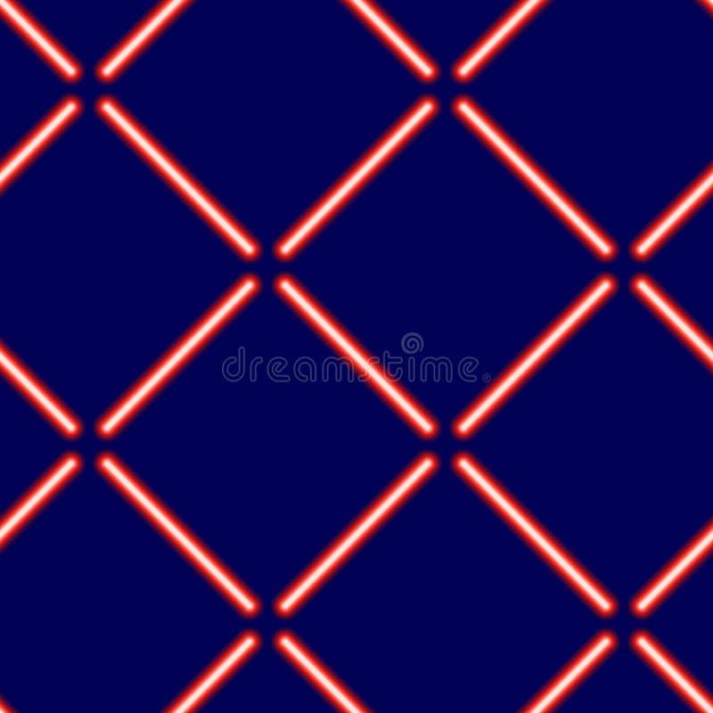Modelo inconsútil de rayos rojos de neón ligeros en un fondo azul stock de ilustración