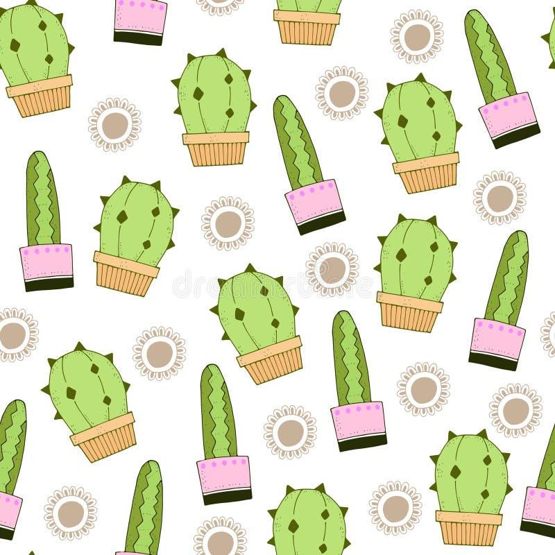 Modelo inconsútil de repetición simple del vector de la historieta linda con los cactus del color y los elementos decorativos libre illustration