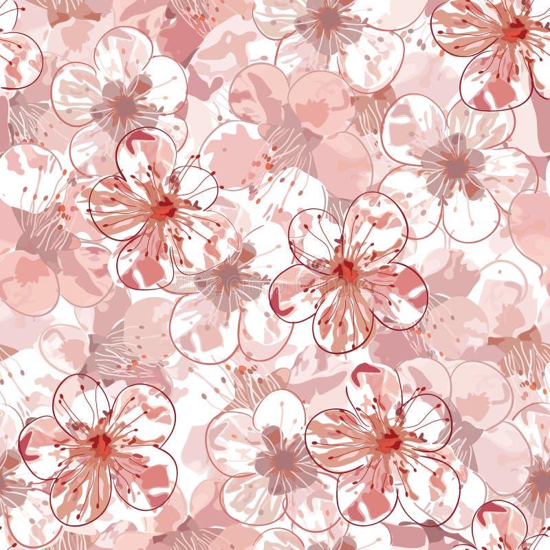 Modelo inconsútil de Sakura ilustración del vector