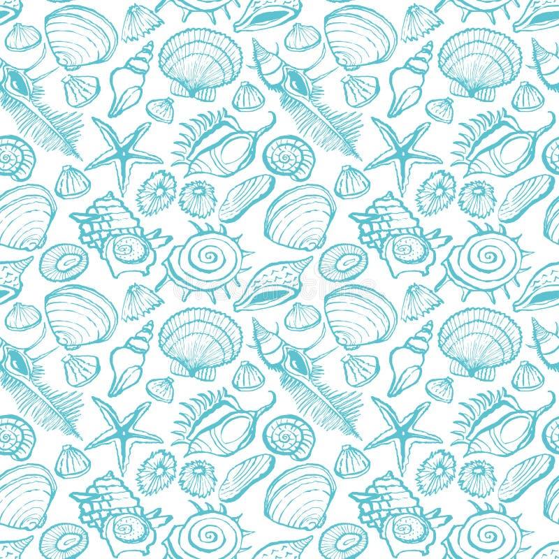Modelo inconsútil de seashells libre illustration