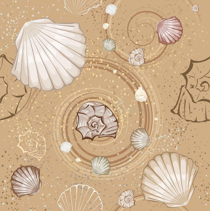 Modelo inconsútil de seashells stock de ilustración