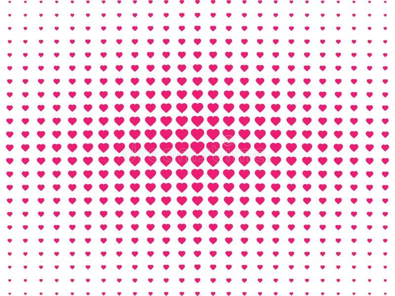 Modelo inconsútil de semitono, contexto punteado con estilo del arte pop del corazón Fondo del día del ` s de la tarjeta del día  stock de ilustración