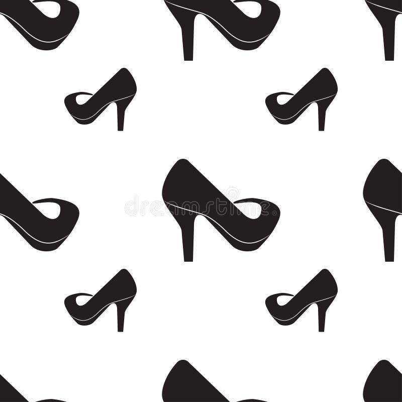 Modelo inconsútil de siluetas de los zapatos de las mujeres ilustración del vector