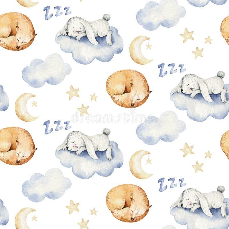 Modelo inconsútil de sueño lindo de la acuarela exhausta animal de la mano de la historieta Diseño de la moda del desgaste del cu libre illustration