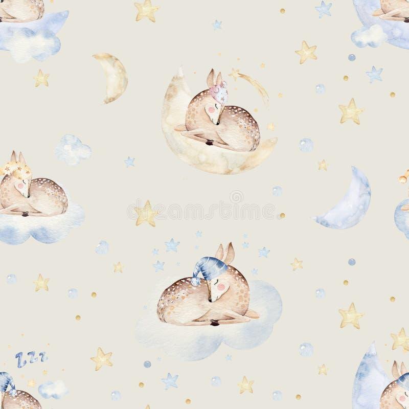 Modelo inconsútil de sueño lindo de la acuarela exhausta animal de la mano de la historieta Diseño de la moda del desgaste del cu stock de ilustración