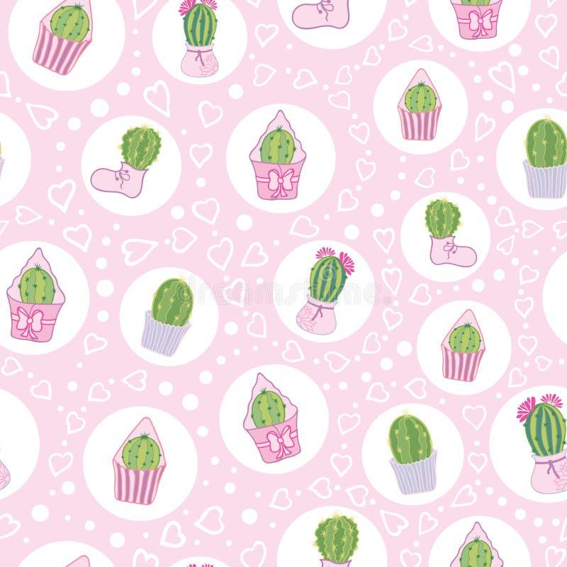Modelo inconsútil de Tea Party de los cactus del rosa del vector stock de ilustración