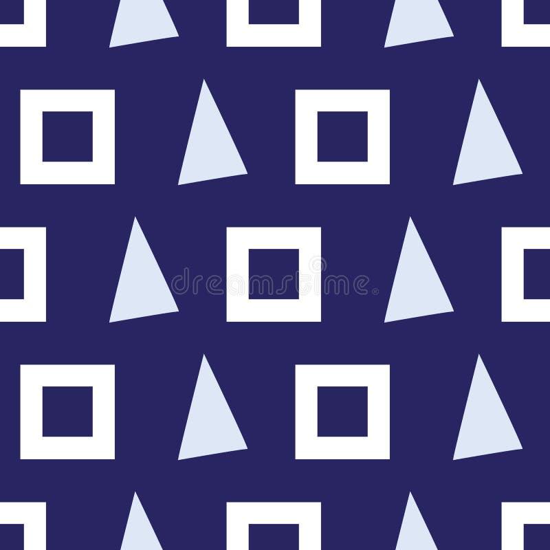 Modelo inconsútil de triángulos y de cuadrados en un fondo azul marino stock de ilustración