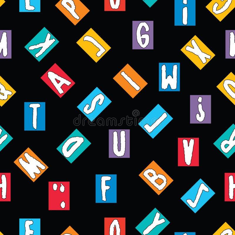 Modelo inconsútil de un alfabeto de letras exhaustas decorativas stock de ilustración