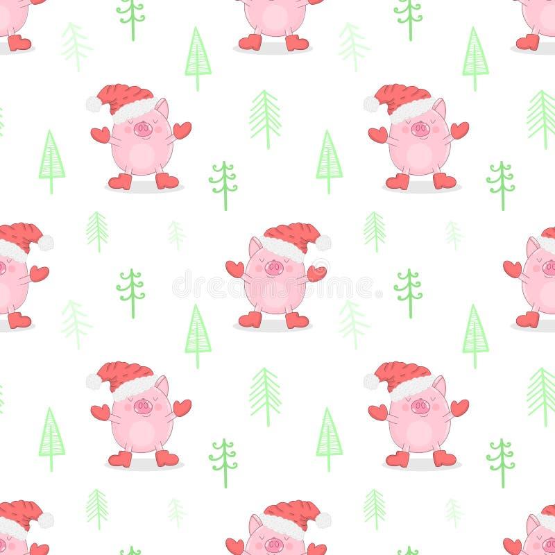 Modelo inconsútil de un cerdo lindo en un casquillo, las manoplas y las botas del Año Nuevo en un fondo de árboles de navidad Eje ilustración del vector