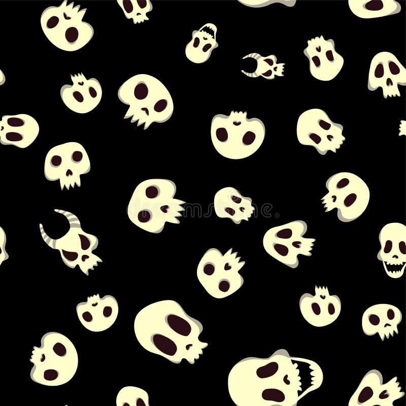 Modelo inconsútil de víspera de Todos los Santos con los cráneos Ejemplo, aislado en fondo negro ilustración del vector